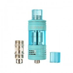 Authentic Playboy Vixen Mini Top / Bottom Filling Tank - Blue, Stainless Steel + Glass, 2.5mL, 22mm Diameter