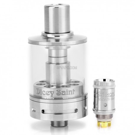 Authentic Sikary Dicey Saint Sub Ohm Clearomizer - Silver + Transparent, Stainless Steel + Glass, 4ml, 0.5 ohm (20~30W)