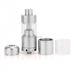 SilverPlay V2 Style RTA Rebuildable Tank Atomizer - Silver, Stainless Steel + Glass, 4.5mL, 22mm Diameter