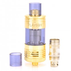 Authentic Playboy Vixen Mini Top / Bottom Filling Tank - Golden, Stainless Steel + Glass, 2.5mL, 22mm Diameter