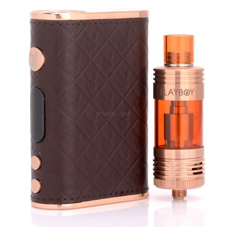 Authentic Playboy LUX 150W TC VW Mod + VIXEN TC Tank Starter Kit - Brown + Golden, 3~150W, 200~600'F, 2 x 18650