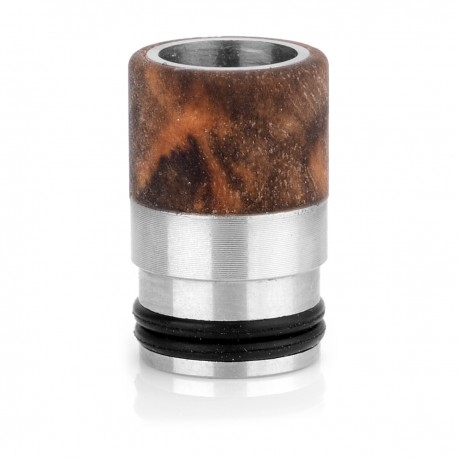 510 Drip Tip - Random Color, Stabilized Wood + Stainless Steel, 14.5mm
