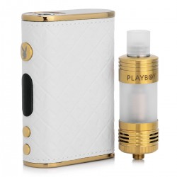 Authentic Playboy LUX 150W TC VW Mod + VIXEN TC Tank Starter Kit - White + Golden, 3~150W, 200~600'F, 2 x 18650