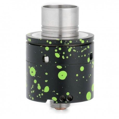 Chrysalis Style RDA Rebuildable Dripping Atomizer - Black + Green, Stainless Steel, 22mm Diameter