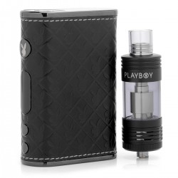Authentic Playboy LUX 150W TC VW Mod + VIXEN TC Tank Starter Kit - Black, 3~150W, 200~600'F, 2 x 18650