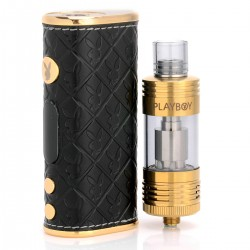 Authentic Playboy LUX 40W 2200mAh TC VW Mod + VIXEN TC Tank Starter Kit - Black + Golden, 3~40W, 200~600'F
