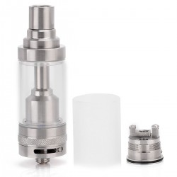 Cthulhu V2 Style RTA Rebuildable Tank Atomizer - Silver, Stainless Steel + Glass, 5mL, 22mm Diameter