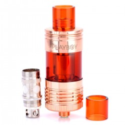 Authentic Playboy Vixen Mini Top / Bottom Filling Tank - Rose Gold, Stainless Steel + Glass, 2.5mL, 0.5 Ohm, 22mm Diameter