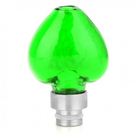 Heart Shape 510 Drip Tip - Translucent Green + Silver, Glass + Stainless Steel