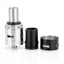 Double Vision Style RDA Rebuildable Dripping Atomizer - Black + Silver, Stainless Steel, 22mm Diameter