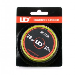 Authentic UD 316 Stainless Steel 28 AWG Resistance Wire for RBA / RTA / RDA - 0.32mm x 10m (30ft), 17.66 Ohm