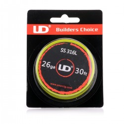 Authentic UD 316 Stainless Steel 26 AWG Resistance Wire for RBA / RTA / RDA - 0.4mm x 10m (30ft), 11.3 Ohm
