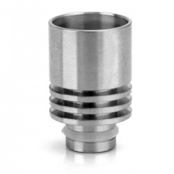 Wide Bore 510 Drip Tip w/ Heat Sink - Silver, Stainless Steel, 21.8mm