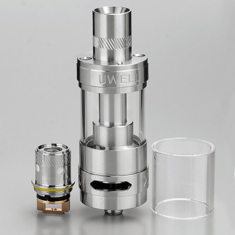 Authentic Uwell Rafale Sub Ohm Tank Clearomizer - Silver, Stainless Steel + Quartz Glass, 5mL, 0.5 Ohm, 22mm Diameter