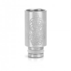 510 Drip Tip - Silver, Stainless Steel, 25mm, Spider-Man Pattern