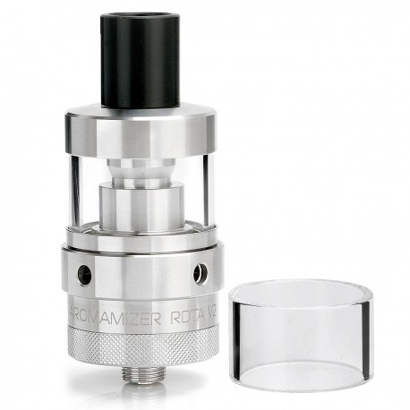 Authentic Steam Crave Aromamizer V2 RDTA Atomizer - Silver, 3mL, 304 Stainless Steel + Glass, 22mm Diameter