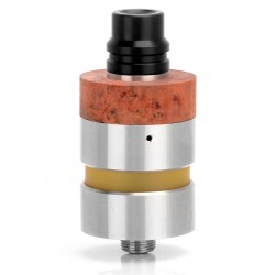 MONAS STYLE RTA REBUILDABLE TANK ATOMIZER - SILVER, 316 STAINLESS STEEL + PEI + POM + STABILIZED-WOOD, 22MM DIAMETER