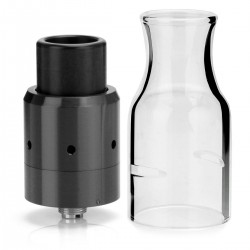 Velocity V2 Style RDA Rebuildable Dripping Atomizer w/ Glass Tank - Black, Stainless Steel, 22mm Diameter