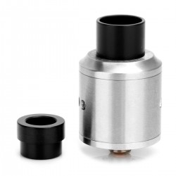 Goon Style RDA Rebuildable Dripping Atomizer w/ Wide Bore Drip - Silver, Stainless Steel, 22mm Diameter