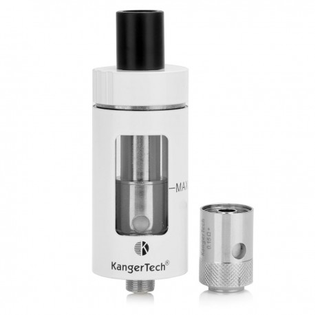 Authentic Kanger CLTANK Sub Ohm Tank w/ Child Lock - White, Stainless Steel + Glass, 4.0mL, 0.5 Ohm, 22mm Diameter