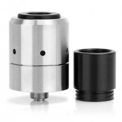 Velocity V2 Style RDA Rebuildable Dripping Atomizer - Silver, 316 Stainless Steel, 22mm Diameter