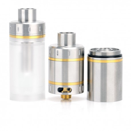 Raven's Moon Style RTA Rebuildable Tank Atomizer - Silver, Stainless Steel + PC, 4 / 7ml, 22mm Diameter