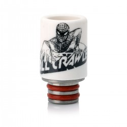Spider-man Pattern 510 Drip Tip for E-cigarettes - Black + Withe, Ceramic, 23.5mm