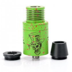 Authentic ADVKEN Mad Hatter V2 RDA Rebuildable Dripping Atomizer - Green + Red, Stainless Steel, 22mm Diameter