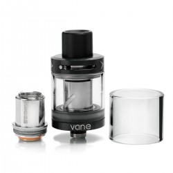 Authentic KAEES Vane Tank Clearomizer w/ Top Airflow - Black, Stainless Steel, 2ml, 22mm Diameter
