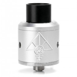 Goon Style RDA Rebuildable Dripping Atomizer w/ Wide Bore Drip Tip - Silver, Aluminum, 24mm Diameter