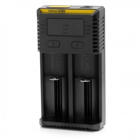 Authentic Nitecore NEW I2 Dual-Slot Li-ion Battery Charger - Black, EU Plug