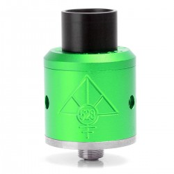 Goon Style RDA Rebuildable Dripping Atomizer w/ Wide Bore Drip Tip - Green, Aluminum, 24mm Diameter