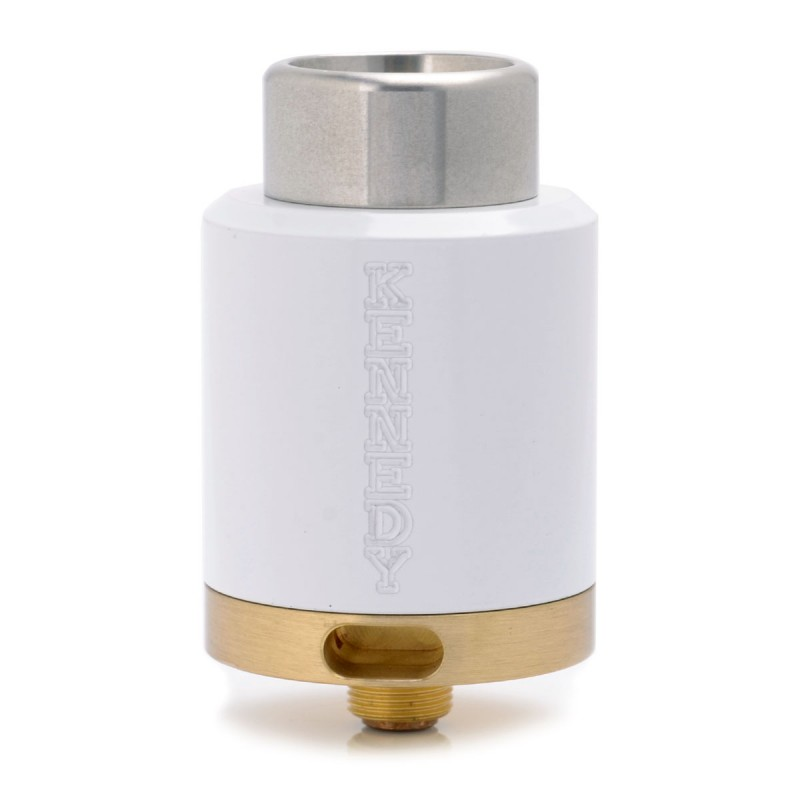kennedy 25 Style RDA Rebuildable Dripping Atomizer - White, Brass, 25mm Diameter