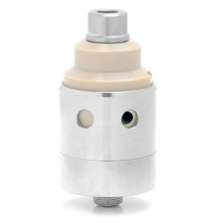 SXK Le Mirage Style RTA Rebuildable Tank Atomizer - Silver, 316 Stainless Steel + PEEK, 2.8ml, 22mm Diameter