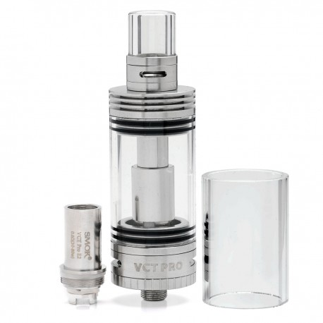 Authentic SmokTech VCT PRO Sub Ohm Tank - Silver, Stainless Steel + Glass, 5.0mL, 0.2 Ohm / 0.6 Ohm