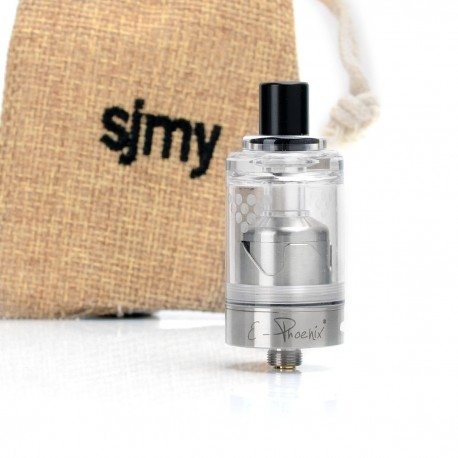 SJMY Hurricane Junior Style RTA Rebuildable Tank Atomizer - Silver, 316 Stainless Steel, 2ml, 22mm Diameter
