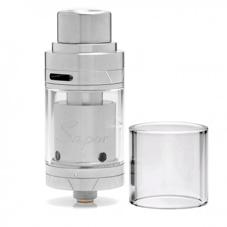 Authentic Wotofo Sapor RTA Rebuildable Tank Atomizer - Silver, Stainless Steel, 2ml, 22mm Diameter