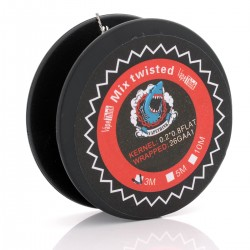 Authentic VapeThink Kanthal A1 Mix Twisted 0.2 x 0.8 + 26GA Heating Wire for RBA - Silver, 0.2 x 0.8 + 0.4, 3m (9 Feet)
