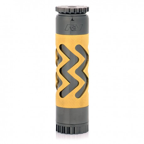 AV Able Style Hollow-out Mechanical Mod - Black + Golden-1, Brass, 1 x 18650