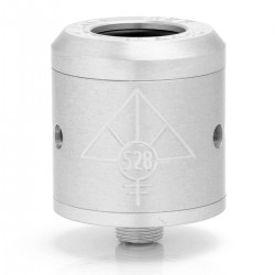 Goon Style RDA Rebuildable Dripping Atomizer w/o Wide Bore Drip Tip - Silver, Stainless Steel, 24mm Diameter