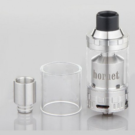 Authentic IVOGO Hornet RTA Rebuildable Tank Atomizer - Silver, Stainless Steel + Glass, 4mL, 24mm Diameter