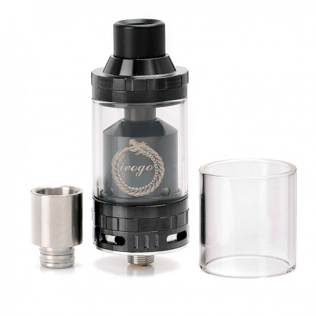 Authentic IVOGO Hornet RTA Rebuildable Tank Atomizer - Black, Stainless Steel + Glass, 4mL, 24mm Diameter