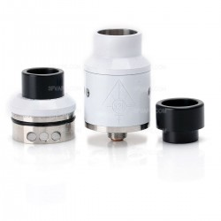 Goon Style RDA Rebuildable Dripping Atomizer - White, Stainless Steel, 22mm Diameter