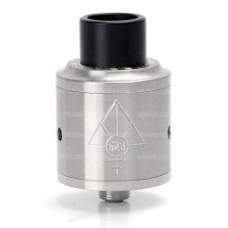Goon Style RDA Rebuildable Dripping Atomizer w/ Wide Bore Drip Tip - Silver, Stainless Steel, 24mm Diameter