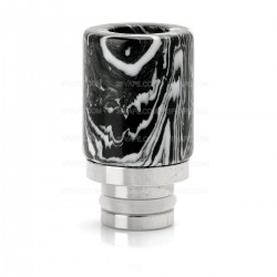 Universal 510 Drip Tip - Black + White, Turquoise + Stainless Steel, 22.5mm
