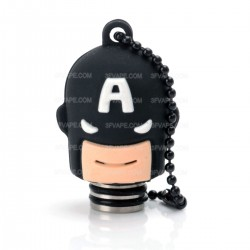 Universal 510 Drip Tip w/ Black Silicone Captain America Sleeve - Random Color, Stainless Steel + Resin, 18.6mm