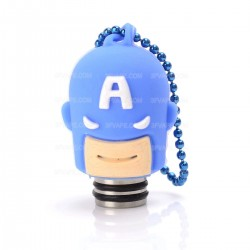 Universal 510 Drip Tip w/ Blue Silicone Captain America Sleeve - Random Color, Stainless Steel + Resin, 18.6mm