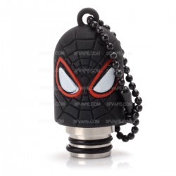Universal Drip Tip w/ Black Silicone Spider-Man Sleeve - Random Color, Stainless Steel + Resin, 18.6mm