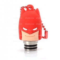 Universal 510 Drip Tip w/ Red Silicone Batman Sleeve - Random Color, Stainless Steel + Resin, 18.6mm