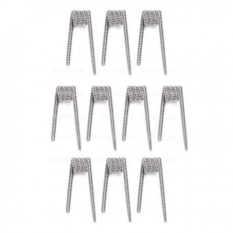 Authentic Demon Killer Framed Clapton Coil + Allen Key Kit - Silver, Kanthal A1 + 316L Stainless Steel, 0.26 Ohm (10 PCS)